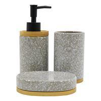 Imagen de Dispensador de jabón de cerámica, con accesorios, en caja, BEIGE