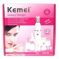 Imagen de Set de limpieza facial KEMEII, depilador, cepillo, masajeador, pulidor de cejas y uñas, en caja