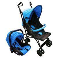 Imagen de Coche para bebé, paragüitas plegable con capota, con baby silla independiente (no autorizada para auto), 3 posiciones, cinturón de 5 puntas, 4 ruedas dobles con freno trasero, canasto de red, en caja, color AZUL