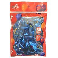 "Imagen de Globo 9"" FILIPPO azul metalizado, bolsa x50"