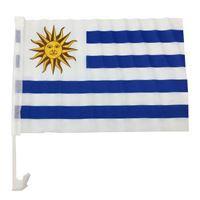 Imagen de Bandera con soporte para auto, URUGUAY