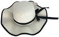Imagen de Sombrero para dama, ala con ondas y moña