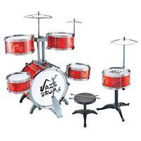 Imagen de Batería 6 tambores y platillos, ROJO, con banco, en caja,